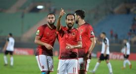 Walid Soliman celebrates scoring. AFP