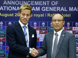 Honda will help coach Cambodia's national side. AFP