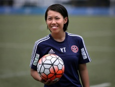 Chan Yuen-ting is the first woman coach to win a top-flight mens football title. AFP