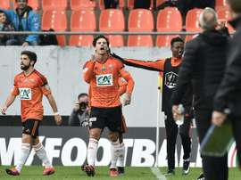 Lorients forward Jeremie Aliadiere reacts after scoring a goal against Nice. AFP