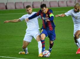 Lionel Messi scored Barcelona's first against Ferencvaros on Tuesday in the Champions League. AFP