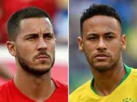 Le duel Hazard-Neymar attirera l'attention. AFP
