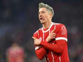 Lewandowski has now scored 17 goals for Bayern Munich this season. AFP