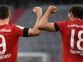 Robert Lewandowski e Leon Goretzka marcaram dois dos sete gols do jogo. AFP
