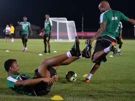 Ghana's Jordan Ayew and Andre Ayew (R) take part in a team training session in Port-Gentil on January 15, 2017, during the 2017 Africa Cup of Nations tournament in Gabon