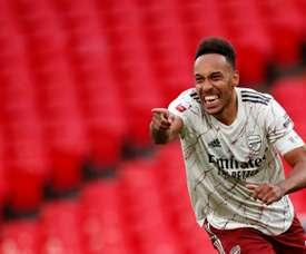 Aubameyang, meilleur buteur d'Arsenal à Wembley. AFP