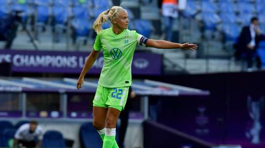 Pernille Harder playing for Wolfsburg in the Champions League final against Lyon. afp_en