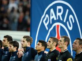 Paris Saint-Germains players sing La Marseillaise before their away game against Lorient on November 21, 2015