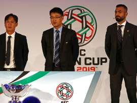(From left) Former Vietnamese midfielder Nguyen Minh Phuong, Shin Man Gil, Executive Director AFC Competitions Division, and Lebanese footballer Joan Oumari at the AFC Asian Cup UAE 2019 Qualifiers Final Round draw in Abu Dhabi on January 23, 2017.