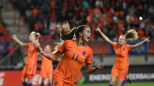 Lieke Martens celebrates with her team's third goal in the semi-final clash with England. AFP