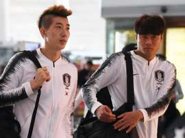 S. Korea football team departs for World Cup qualifier in Pyongyang. AFP