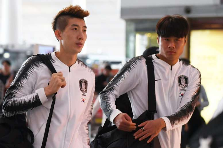 S. Korea football team departs for World Cup qualifier in Pyongyang. AFP