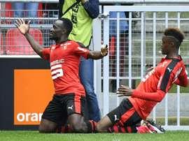 Mubele a inscrit le premier but pour Rennes. AFP