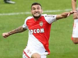 Monaco mildfielder Gabriel Boschilia celebrates after scoring on Sunday. AFP