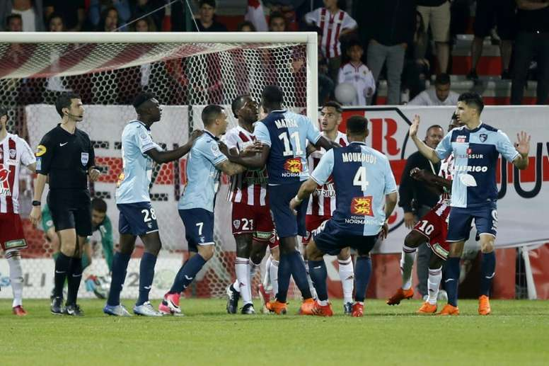 The clash between Ajaccio and Le Havre was a feisty one. AFP