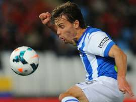 Real Sociedads midfielder Sergio Canales controls the ball during the Spanish league football match against Almeria on March 24, 2014