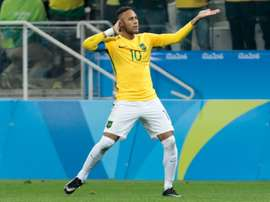 Le Brésilien Neymar, buteur face à la Colombie en quarts du tournoi de football aux JO de Rio, le 13 août 2016