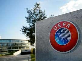 Le logo de lUEFA au siège de linstance à Nyon, le 6 avril 2016