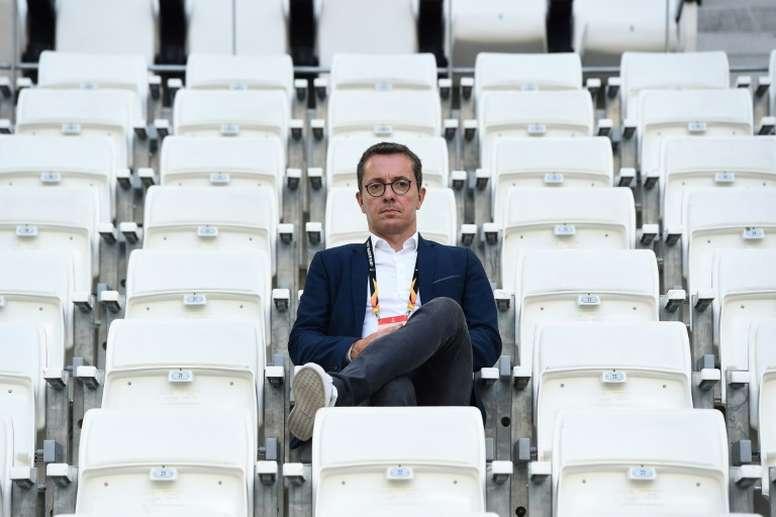 Jacques-Henri Eyraud lors de la réception de l'Eintracht Francfort. AFP