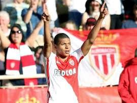 La joie du jeune attaquant de Monaco Kylian Mbappé après avoir inscrit un but contre Toulouse. AFP
