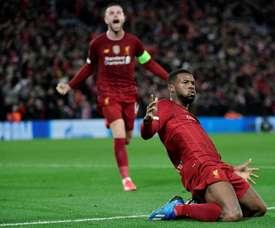 O Liverpool avança na renovação de Wijnaldum. AFP