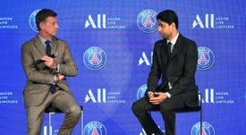Al-Khelaïfi aseguró que Neymar y Mbappé se quedan en el PSG al 2.000%. AFP