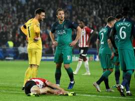 Hugo Lloris was sent off in the reverse fixture. AFP