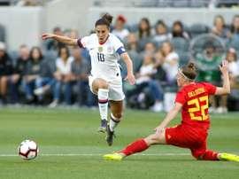 Les Etats-Unis sont en avance en football féminin. AFP