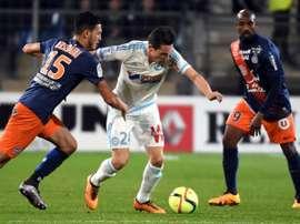 Le milieu de Marseille Florian Thauvin lors du match de Ligue 1 contre Montpellier à La Mosson. AFP