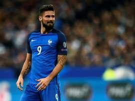 Olivier Giroud auteur du 2e but des Bleus contre le Belarus en qualification pour le Mondial. AFP