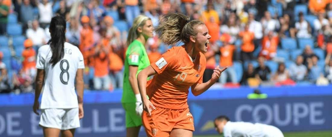 Les Néerlandaises arrachent le 1-0 face aux Néo-Zélandaises. AFP