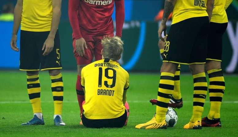 Julian Brandt no podrá jugar los octavos de Champions por lesión. AFP/Archivo
