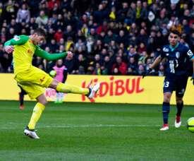 Emiliano Sala anotó los dos goles del Nantes ante el Lille. AFP