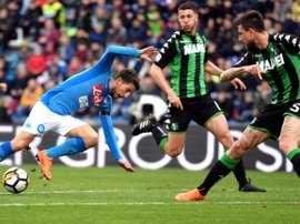 Napoli tropeça frente ao Sassuolo. AFP