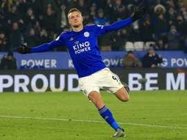 Vardy en feu avec Leicester. AFP