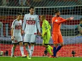 Le Néerlandais Davy Propper auteur du premier but face à la Biélorussie, le 7 octobre 2017. AFP