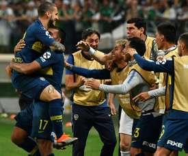 Dario Benedetto (g), des Boca Juniors, après avoir marqué contre Palmeiras. AFP