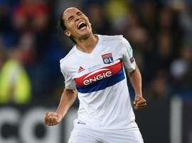 La Lyonnaise Amel Majri exulte après avoir inscrit un but sur pénalty face au PSG. AFP
