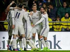 La joie des joueurs du Real Madrid après le but de la victoire à Villarreal par Alvaro Morata. AFP
