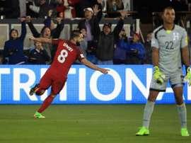 L'Américain Clint Dempsey, auteur d'un triplé contre le Honduras. AFP