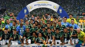 Palmeiras sacré champion du Brésil, le 27 novembre 2016 à Sao Paulo. AFP