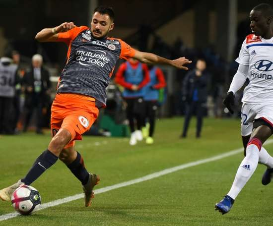 Gaëtan Laborde (g) contre Lyon, le 22 décembre à Montpellier. AFP