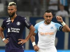 Dimitri Payet (d) marque le premier but de la saison pour Marseille. AFP