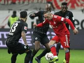 Franck Ribéry auteur du doublé sur le terrain de l'Eintracht. AFP