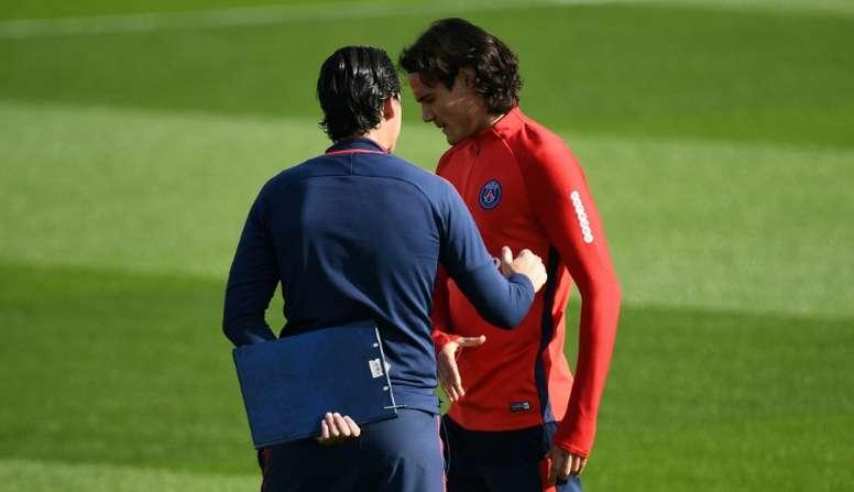 Emery y Cavani, protagonistas. AFP