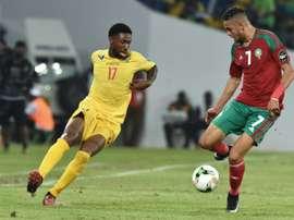 Serge Gakpé avec le Togo contre le Maroc de Youssef En-Nesyri dans le groupe C de la CAN. AFP