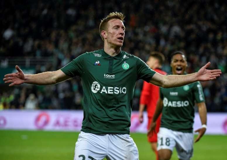 L'attaquant de Saint Etienne Robert Beric lors de la victoire à domicile sur Nice. AFP