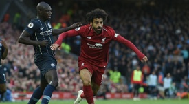 Salah pictured during Liverpool's 0-0 draw against Manchester City. AFP