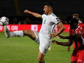 Baghdad Bounedjah lors du match contre le Kenya au Caire, le 23 juin 2019. AFP