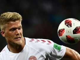 Le Danois Andreas Cornelius lors du match face à la Croatie lors du Mondial. AFP